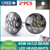 "2X 7"" INCH 45W LED Headlight Hi/Lo Beam Clear Sealed Lamp Offroad For Jeep Black"
