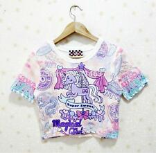 Women Harajuku Cropped Tops Unicorn Kawaii Cartoon Horse Short-sleeve T shirt