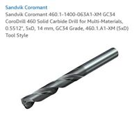 14mm Carbide Drill Sandvik Coromant 460.1-1400-063A1-XM GC34 CoroDrill 5 x DC