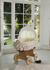 Wicker Crib Moses Basket Luna Uno Cream (Cot Bed) with Snuggle Pod MJMARK