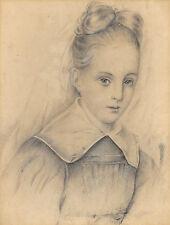 Fine Siglo Xix Retrato Dibujo de una joven