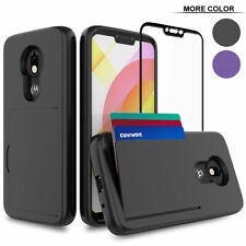 Moto G7 / Plus, 3 Card Slot Armor Case Cover Tempered Glass Screen Protector