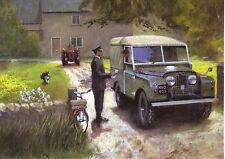 Land Rover series 1 landrover canvas  top postman bicycle at Farm Greeting card