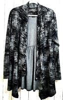 Soma XL Open Front Cardigan Peplum Sweater Long Sleeve Tunic Stretch Black Gray