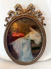 Antique Painting: LETTER Woman in Enterieur, Oil, Canvas in Oval Frame