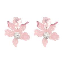 Pendientes Plateado Floral Metal Hileras Cristal Blanco Resina Rosa AA28