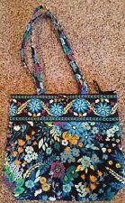 Vera Bradley ~Retired~ MIDNIGHT BLUES Large Floral Tote Bag Purse EUC