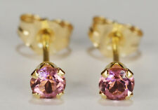 BEENJEWELED GENUINE NATURAL MINED PINK TOURMALINE EARRINGS~14 KT YLW GOLD~3MM