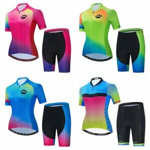 Cycling Jersey Women Set Short Sleeve 5D Padded Bicycle Shorts Reflective Shirt