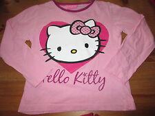 "Tee-shirt Rose ""Hello Kitty"",ML,Taille 7/8ans,marque Sanrio,TBE"