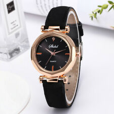 Fashion Women Leather Strap Casual Watch Luxury Analog Quartz Crystal Wristwatch