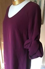 ABBEY GLASS Burgundy Sheath Career Party Dress Knot Sleeve Scoop Neck SZ M $330