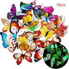 26Pcs Garden Ornaments Garden Butterflies Stakes Luminous Yard Patio Party Decor