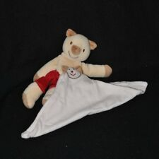 Peluche doudou ours cochon cajou SUCRE D'ORGE rouge mouchoir blanc 19 cm TTBE