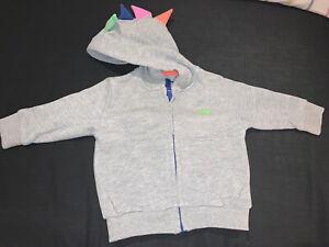 Next Baby Boys Grey Dinosaur Zip Up Hoodie Size 6-9 Months