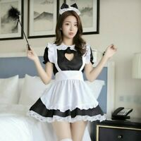 Lady Lolita Waitress Costume Maid Outfit Dress Apron Suit Ruffle Keyhole Cosplay