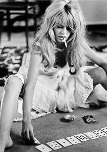 Brigitte Bardot Smoking Playing Cards Art Canvas Poster Print  Movie Star Pinup
