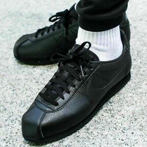 Nike Classic Cortez Leather Triple Black Trainers Shoes UK 10,11, 12, 14