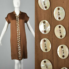Xxs 1920s Brown Silk Day Dress Mother of Pearl Buttons Short Sleeve Art Deco 20s