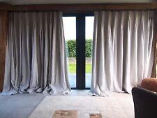 COPPIA di lusso grigio chiaro 100% lino foderato alternate 3.05 mlong 2.80 mwide Tende