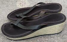 Nike Wedge Sandals Thongs Flip Flops Brown Cork Effect Womens Size W7 UK 5