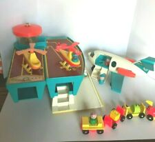 Authentic 1972 Fisher Price Airport Airplane Helicopter Wooden People Travel