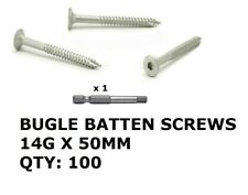 100 x Bugle Batten Screws 14 x 50mm Galvanised Type 17 for Timber Wood Decking