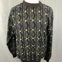 Vintage Jantzen Pullover Sweater Large Mens Brown Beige Black Cosby Chunky Knit