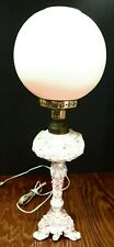 Antique Victorian Dresden Style Porcelain Parlor Lamp Converted to Electric