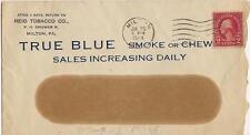 1924 Postal Cover TRUE BLUE Smoke or Chew Reid TOBACCO Co MILTON PENNSYLVANIA PA