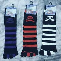 Toe socks pirate skull and crossbone ladies girls,stripe black purple red white