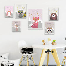 Woodland Animal Picture Owl Fox Nursery Children Poster Canvas Wall Art Print