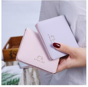 Women Short Small Money Wallet Ladies Animal Folding Purse Coin Card Holder Cat
