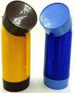 Vintage Aladdin Super Food Flask 32 fl oz Yellow Brown Blue English Made