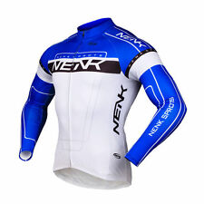 SOBIKE NENK Mens Long Sleeve Cycling Jersey Bike Jersey Cooree Blue Size 2XL