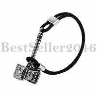 Mens Viking Thor's Hammer Mjolnir Leather Bracelet Stainless Steel Biker Bangle