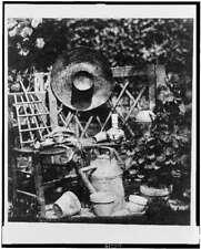Composition chapeau,gardening equipment,supplies,tools, hat,plants,H Bayard 7863