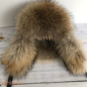 Mens Real Raccoon Fur Russian Ushanka Hats Aviator Trapper Hunter Ski Earlap Cap