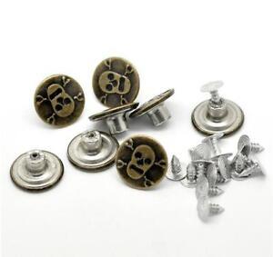 12PCS Bronze Metal Rivet Studs Skull Crossbones Jeans Buttons Hammer On 17MM/26
