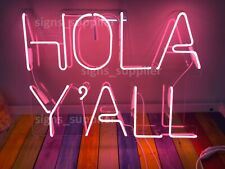 """New Hola Y'all Pink Neon Sign Light Lamp Acrylic 24"""" Bar Bedroom Display Gift"""
