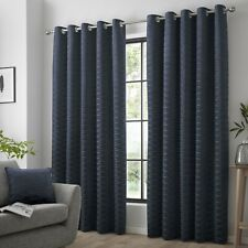"""Curtina Luxury """"Kendal"""" Geometric Print Fully Lined Eyelet Curtains Navy"""