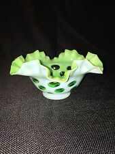 BILL FENTON ESTATE AUCTION LIME GREEN OPAL COIN DOT WHITE OVERLAY VASE BOWL