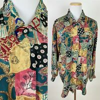 VTG 90s Patchwork Quilt Print Blouse M Paisley Floral Boho Colorful Earth Tone