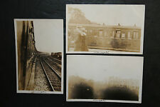 Lot of 3 Vintage Unposted Sepia Rppc Azo N.B.R Railroad Tracks Scotland