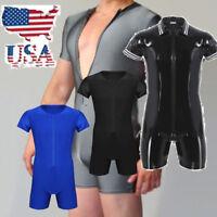 USA Men One-piece Short Sleeve Front Zipper Boxer Briefs Leotard Bodysuit Romper