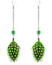 F3354 Green Feather round beads chain charming dangle earrings new arrive