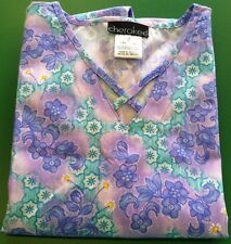 {Small} Cherokee Medical Scrub Top V-neck 65p/35c Printed Water Color Flowers