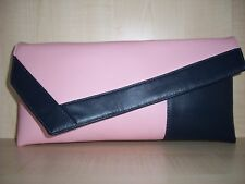 CANDY PINK & NAVY BLUE  faux leather asymmetrical clutch bag, made in the UK
