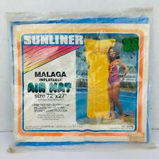 """Vintage 1982 Malaga Inflatable Air Mat Pool Float Sealed NEW 72"""" X 72"""" Blue"""