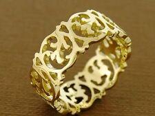 R258 Solid 9ct Yellow Gold Victorian Scrolls Full Eternity Ring Wedding size Q